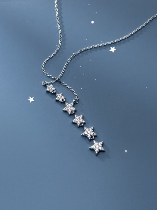 Rosh 925 Sterling Silver Cubic Zirconia Star Minimalist Lariat Necklace 3