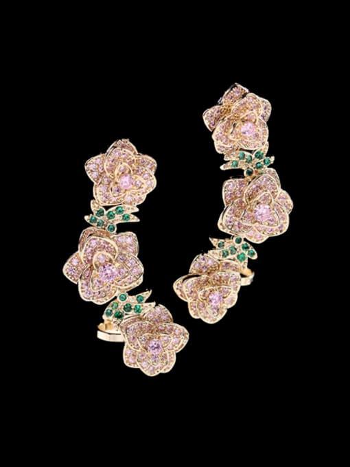 Golden powder Brass Cubic Zirconia Flower Ethnic Clip Earring