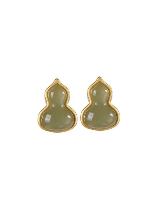 DEER 925 Sterling Silver Jade Irregular Vintage Stud Earring 2