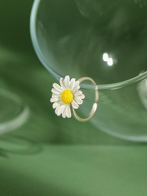 DAKA 925 Sterling Silver Enamel Flower Minimalist Band Ring 3