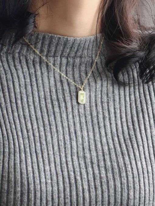 CHARME Brass Rhinestone Letter Minimalist Necklace 2