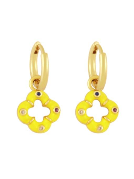 yellow Brass Enamel Clover Vintage Huggie Earring