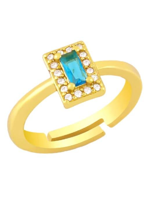 Sky blue Brass Cubic Zirconia Geometric Minimalist Band Ring