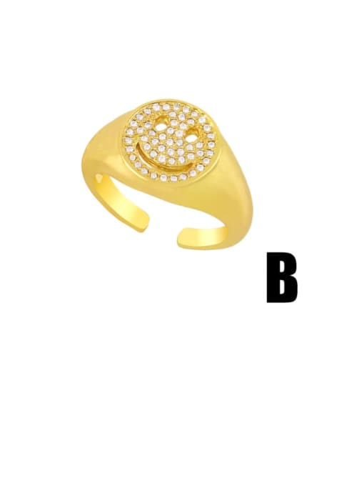 CC Brass Cubic Zirconia Smiley Vintage Band Ring 2