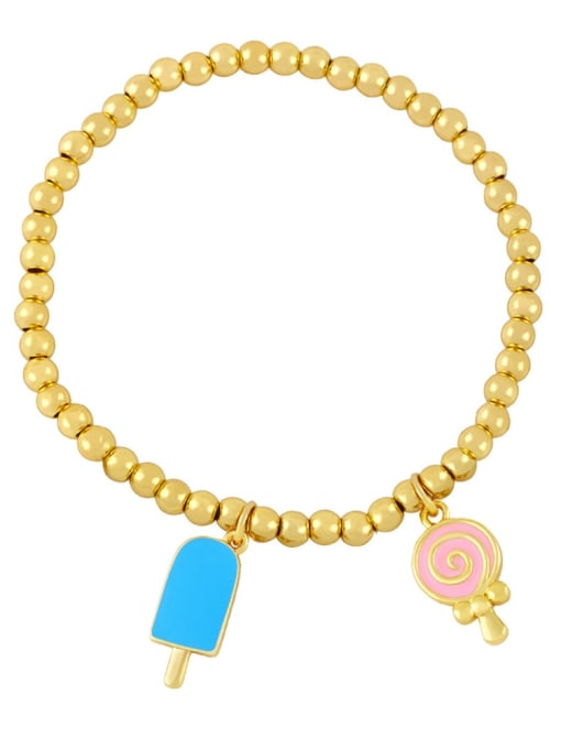 CC Brass Enamel Heart Vintage Beaded Bracelet 4