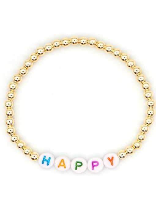 Roxi Stainless steel Bead Acrylic Letter Bohemia Beaded Bracelet 0