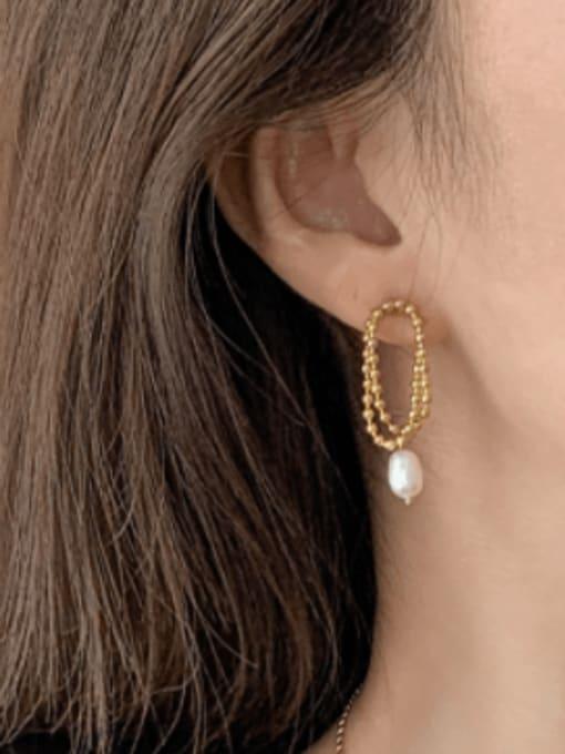 A TEEM Titanium Steel Freshwater Pearl Round Bead Minimalist Drop Earring 1