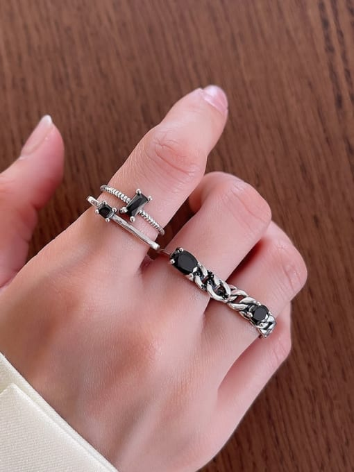 Boomer Cat 925 Sterling Silver Cubic Zirconia Geometric Vintage Stackable Ring 3