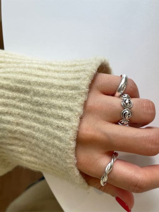 Boomer Cat 925 Sterling Silver Geometric Vintage Band Ring 1