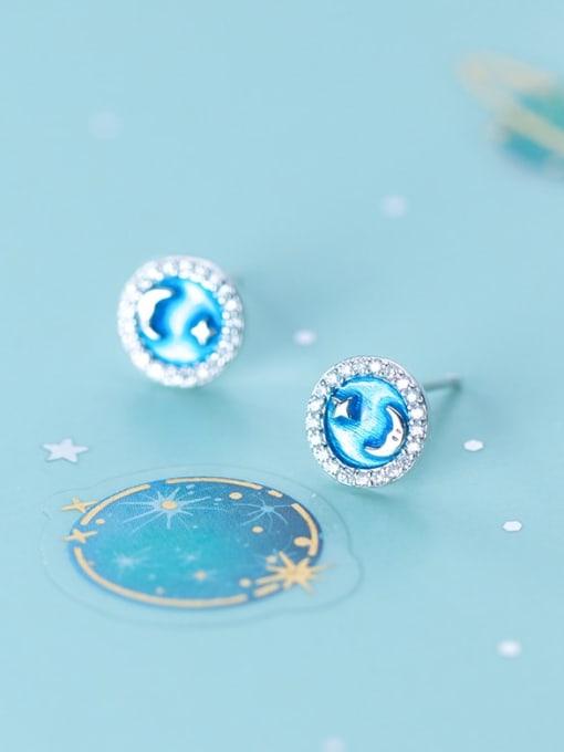 Rosh 925 Sterling Silver Cubic Zirconia Enamel Round Minimalist Stud Earring