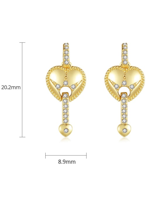 BLING SU Brass Cubic Zirconia Heart Vintage Drop Earring 4