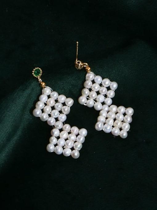 01 Brass Freshwater Pearl Geometric Ethnic Drop Earring