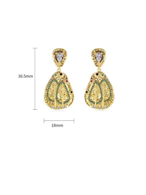 BLING SU Brass Cubic Zirconia Geometric Vintage Drop Earring 2