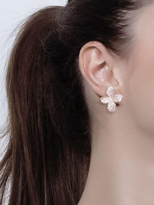 L.WIN Brass Cubic Zirconia Flower Luxury Stud Earring 2