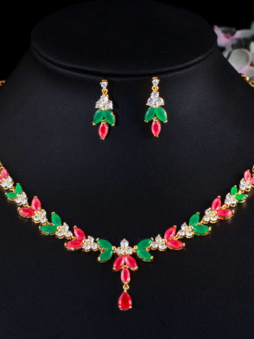 Gold red green suit Brass Cubic Zirconia Luxury Flower Earring and Necklace Set