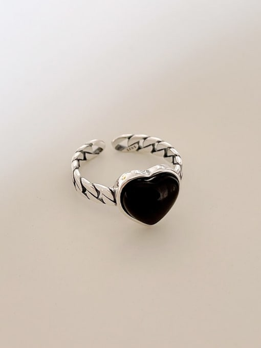 Boomer Cat 925 Sterling Silver Carnelian Heart Vintage Band Ring