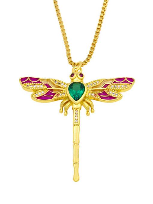 CC Brass Cubic Zirconia Enamel Butterfly Cute Necklace