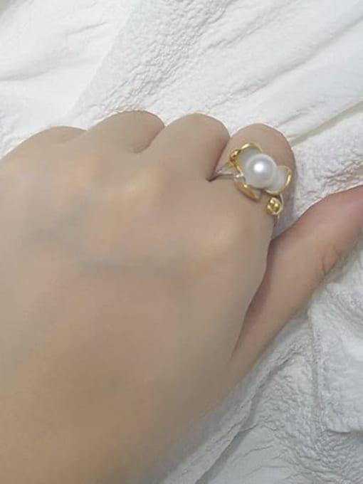 RAIN Brass Freshwater Pearl Flower Vintage Band Ring 1