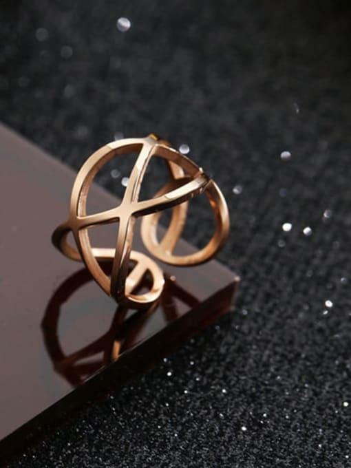 MIYA Titanium Steel Hollow Geometric Minimalist Stackable Ring 0