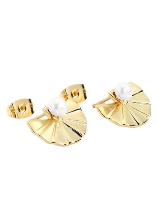 CHARME Bronze Imitation Pearl Geometric Vintage Stud Earring 3