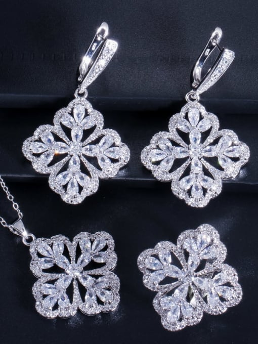 White Ring Size 9 Brass Cubic Zirconia Luxury Flower  Earring Ring and Necklace Set