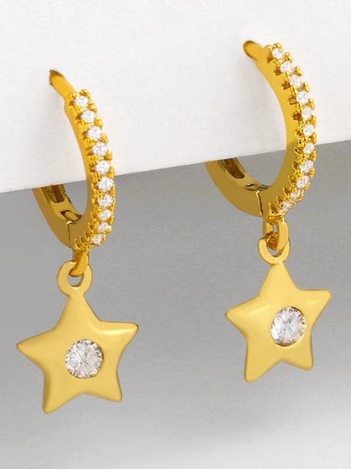 CC Brass Cubic Zirconia Star Minimalist Huggie Earring 1