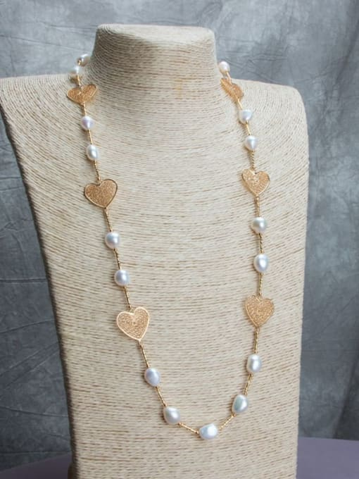 RAIN Brass Freshwater Pearl Hollow Heart Vintage Necklace 1