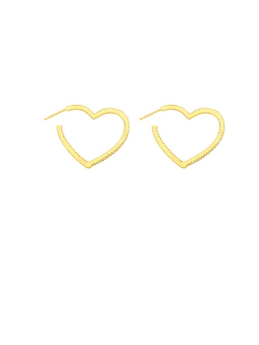 Peach heart Brass Hollow Star Heart Minimalist Huggie Earring