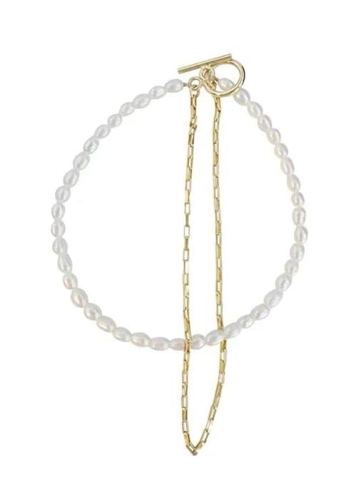 LI MUMU Titanium Steel Imitation Pearl Geometric Vintage Strand Bracelet 0