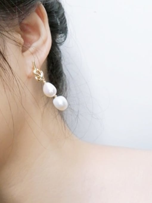 RAIN Brass Freshwater Pearl Geometric Minimalist Drop Earring 1