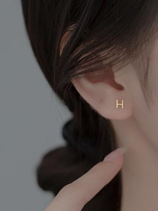 Rosh 925 Sterling Silver Letter Minimalist Stud Earring 1