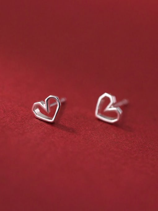 Rosh 925 Sterling Silver Hollow Heart Minimalist Stud Earring 1