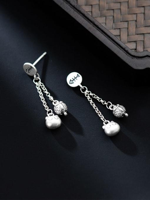 Rosh 925 Sterling Silver Bead Tassel Minimalist Drop Earring 1