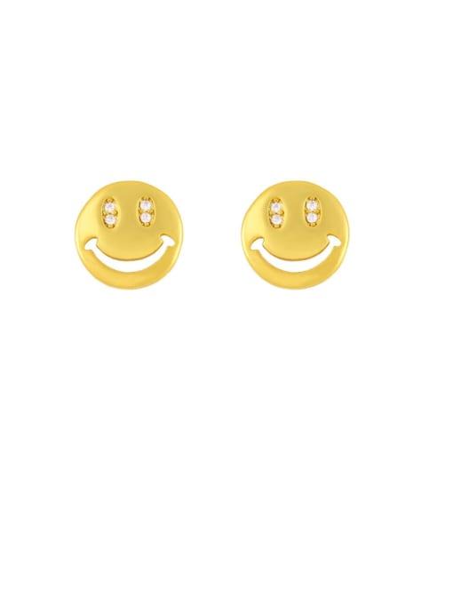 CC Brass Cubic Zirconia Smiley Vintage Stud Earring 2