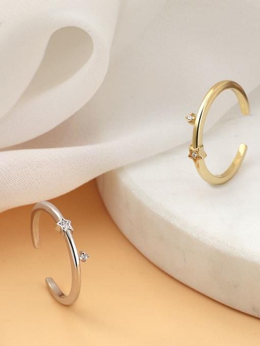CHARME Brass Cubic Zirconia Irregular Minimalist Band Ring 1