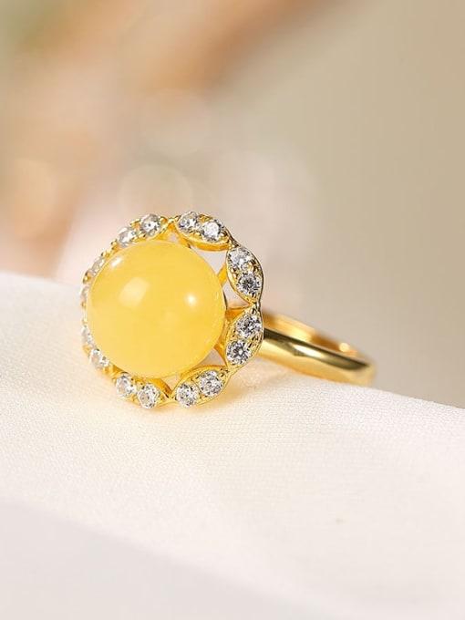 DEER 925 Sterling Silver Amber Flower Cute Band Ring 0