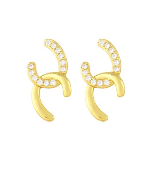 CC Brass Cubic Zirconia Geometric Minimalist Stud Earring