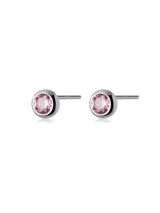 Rosh 925 Sterling Silver Rhinestone Round Minimalist Stud Earring 4