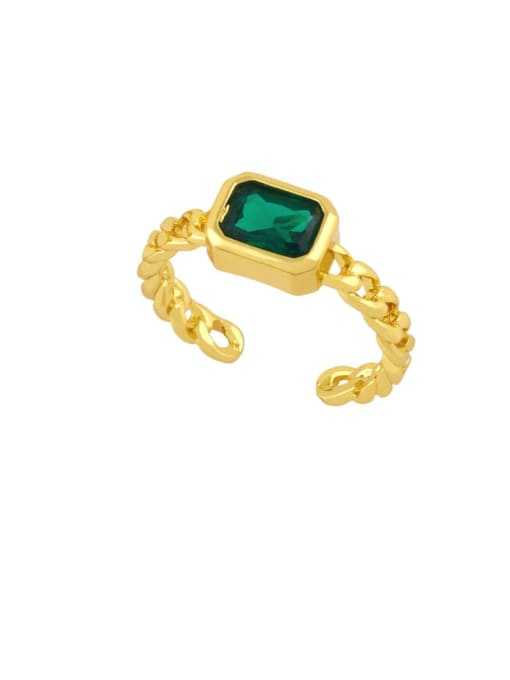 green Brass Cubic Zirconia Geometric Vintage Band Ring