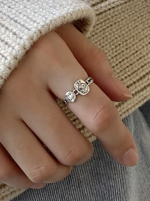 Boomer Cat 925 Sterling Silver Letter Geometric Vintage Band Ring 1