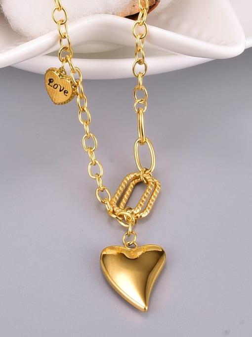 A TEEM Titanium Steel Smooth Heart Vintage Necklace 1