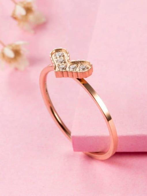 MIYA Titanium Steel Cubic Zirconia Heart Minimalist Band Ring 0