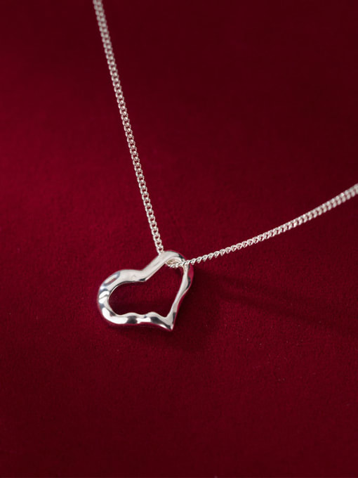 Rosh 925 Sterling Silver Hollow Heart Minimalist Necklace