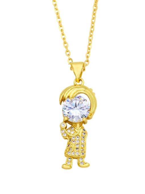 B Brass Cubic Zirconia Ange girl boy  Minimalist Necklace