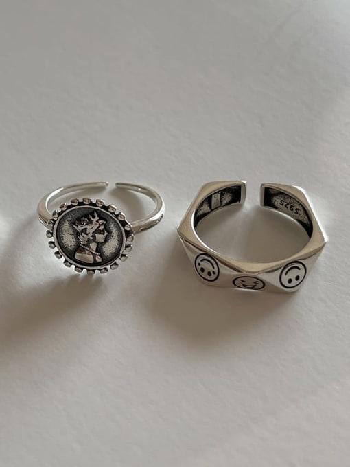 LI MUMU 925 Sterling Silver Hollow Irregular Vintage Band Ring
