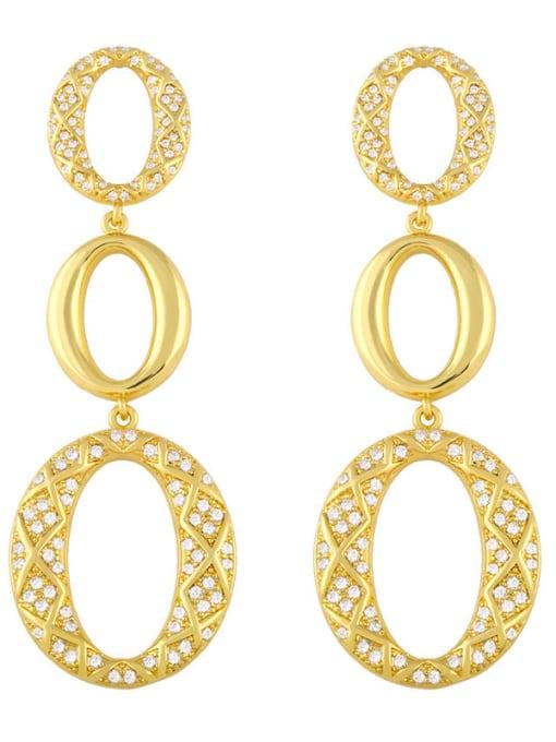 gold Brass Cubic Zirconia Oval Vintage Drop Earring