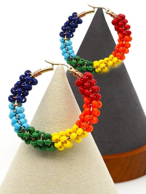 Roxi Stainless steel MGB  Bead Multi Color Geometric Bohemia Huggie Earring 2
