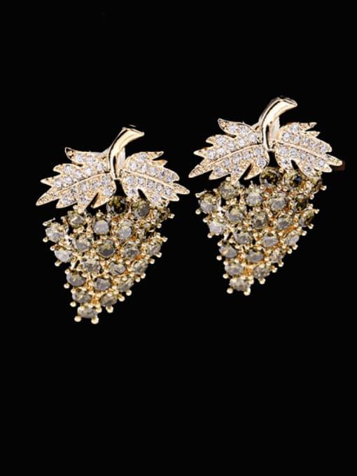 Olive green zirconium Brass Cubic Zirconia Friut Trend Stud Earring