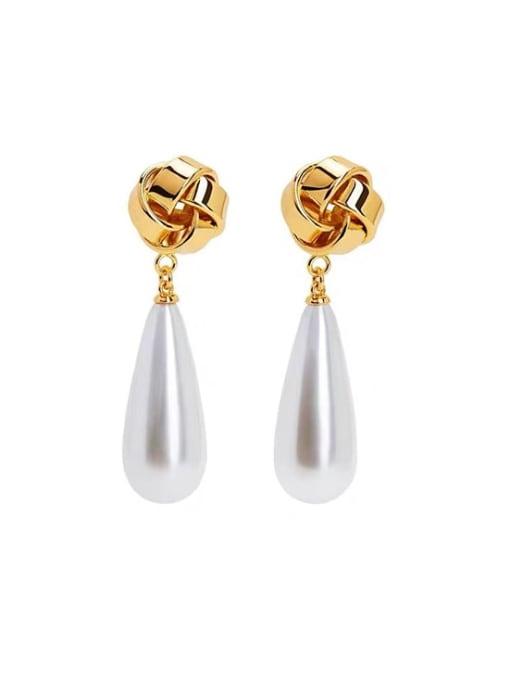 LI MUMU Brass Imitation Pearl Water Drop Minimalist Drop Earring 0