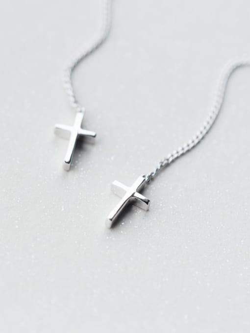 Rosh 925 Sterling Silver Cross Tassel Minimalist Threader Earring 2